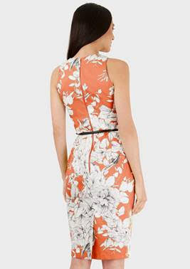 Betina Coral and White Belted Pencil Dress - LadyVB   s.r.o - 6