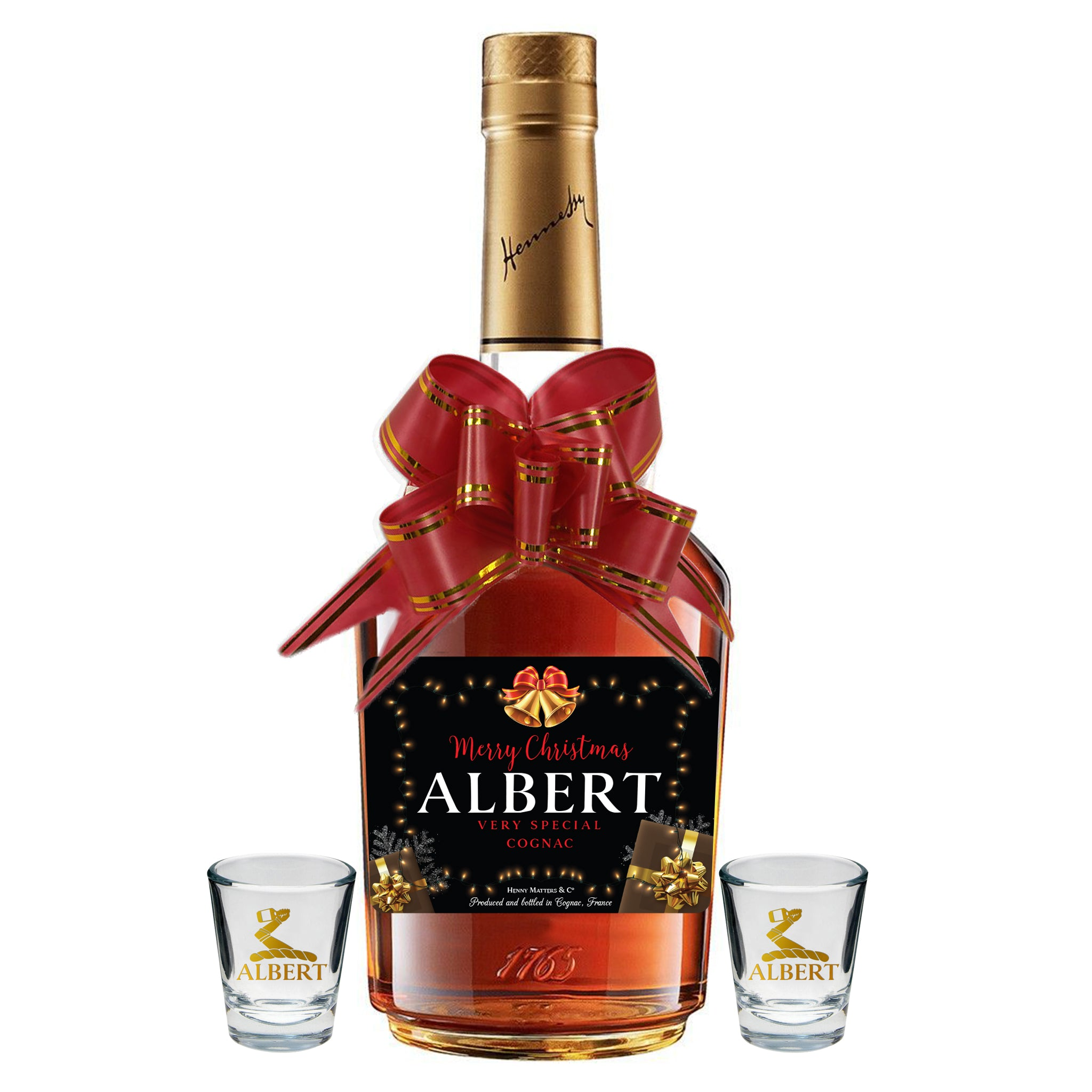Custom Christmas Hennessy Label