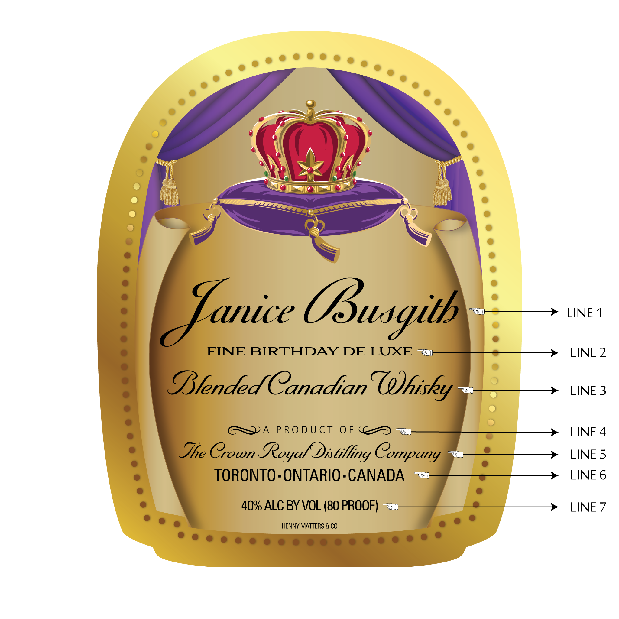 Custom Crown Royal Label - Henny Matters