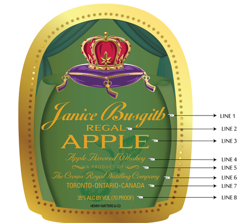 Custom Crown Royal Apple Label
