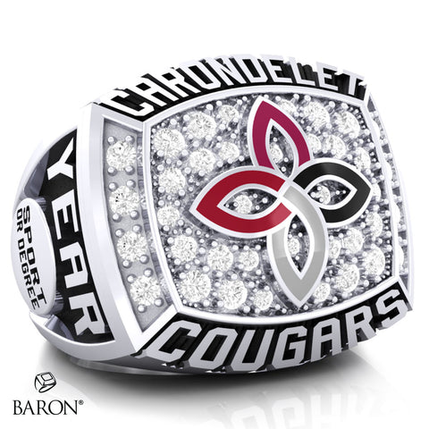 Carondelet Cougars Athletic Ring - 800 Series (Durilium/Silver/10Kt White Gold) - Design 2.1