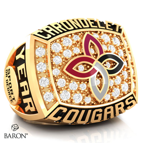 Carondelet Cougars Athletic Ring - 800 Series (Gold Durilium/10KT Yellow Gold) - Design 2.2