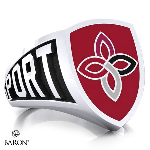 Carondelet Cougars Athletic Shield Signet Class Ring (Durlium, Sterling Silver, 10kt White Gold) - Design 3.1