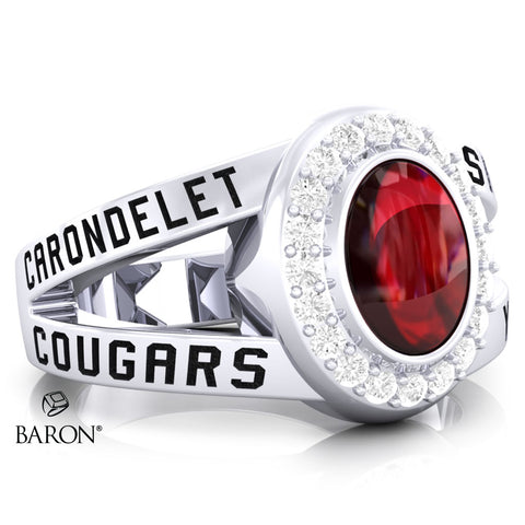 Carondelet Cougars Class Ring - 3059 (Durilium, Sterling Silver, 10KT White Gold) - Design 8.1