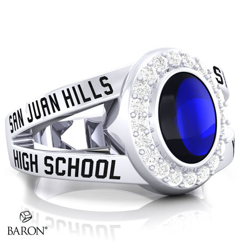 San Juan Hills Class Ring - 3059 (Durilium, Sterling Silver, 10KT White Gold) - Design 8.1
