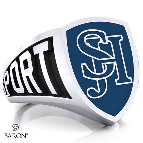 San Juan Hills Athletic Shield Signet Class Ring (Durlium, Sterling Silver, 10kt White Gold) - Design 3.1