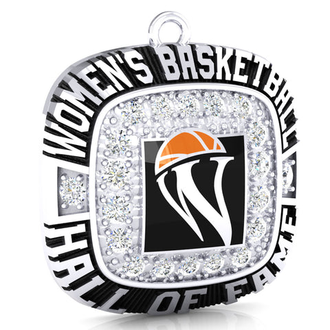 Womens Basketball Hall of Fame Pendant ( Durilium, 6K White Gold, 10K White Gold, 14K White Gold)
