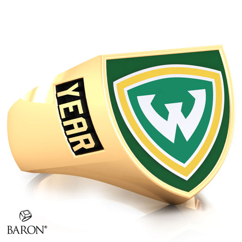 Wayne State University Crest Shield Signet Class Ring (Gold Durlium, 10kt Yellow Gold) - Design 4.2
