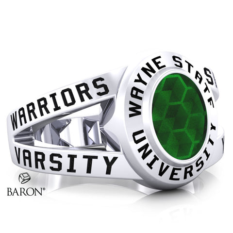 Wayne State University Class Ring - 3059 (Durilium, Sterling Silver, 10KT White Gold) - Design 8.1