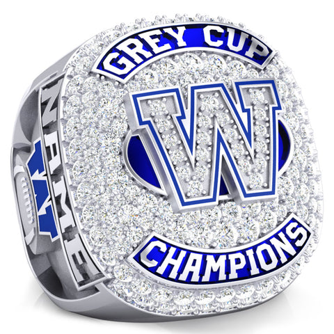 Winnipeg Blue Bombers -1990 Grey Cup Commemorative Ring - Design 1.10A (Durilium / 6KT White Gold / 10KT White Gold)