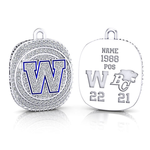 Winnipeg Blue Bombers -1990 Grey Cup Commemorative Ring Top Pendant - Design 2.8 (Durilium / 6KT White Gold / 10KT White Gold)