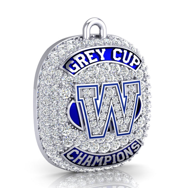 Winnipeg Blue Bombers -1990 Grey Cup Commemorative Ring Top Pendant - Design 1.14 (Durilium / 6KT White Gold / 10KT White Gold)