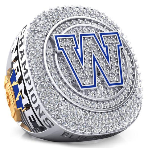 Winnipeg Blue Bombers Alumni 30th Anniversary 1988 Grey Cup Celebration Ring - Design 2.6 (Durilium w/ Gold Durilium / 6KT White and Yellow Gold / 10KT White and Yellow Gold)