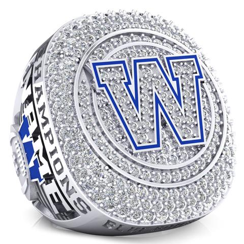 Winnipeg Blue Bombers Alumni 30th Anniversary 1988 Grey Cup Celebration Ring - Design 2.6(Durilium / 6KT White Gold / 10KT White Gold)