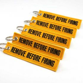 Remove Before Firing Keychain - Yellow/Black