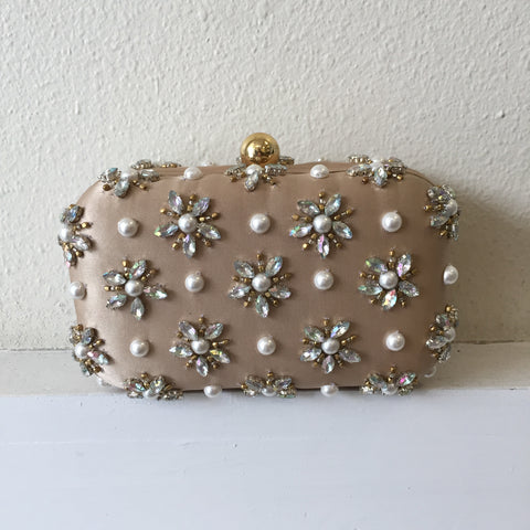 Taupe Star Beaded Clutch
