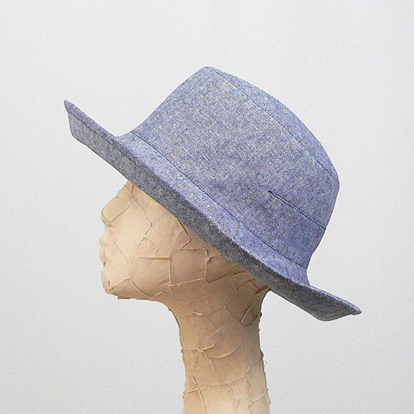 Tsuyumi Cotton & Linen Mid Brim Bucket Hat Navy Chambray