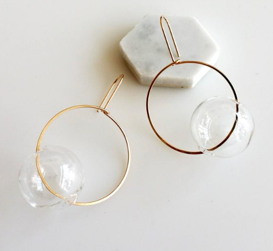 Hyworks - Round + Round Earrings: Clear