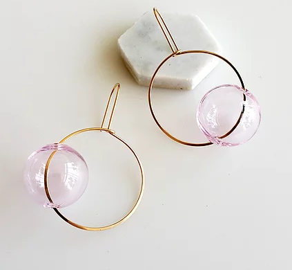 Hyworks Round + Round Earrings Pink