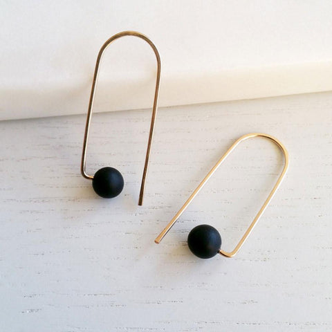 Hyworks Curve Black earrings