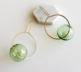 Hyworks - Round + Round Earrings: Green