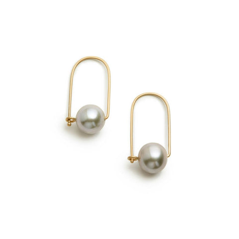 Carla Caruso Wide Pearl Grey Earring 14k