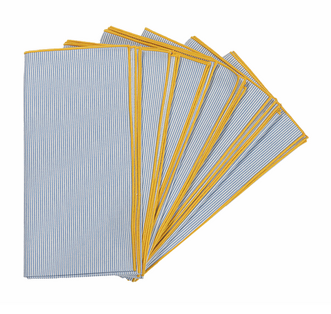 Lateral Objects Frame Napkin Set Blue Stripe