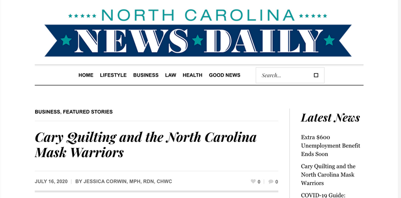 Cary Quilting Company and the NC Mask Warriors in the News