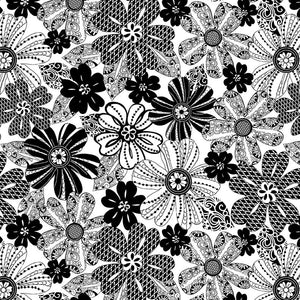 "108"" Black Tie Quilt Fabric - Mod Flower in Black/White - 1494-19"