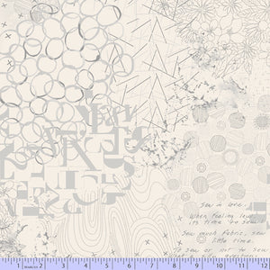 "108"" Fade Out Quilt Backing Fabric - Collage Print in Cream - R36 0773 0141"