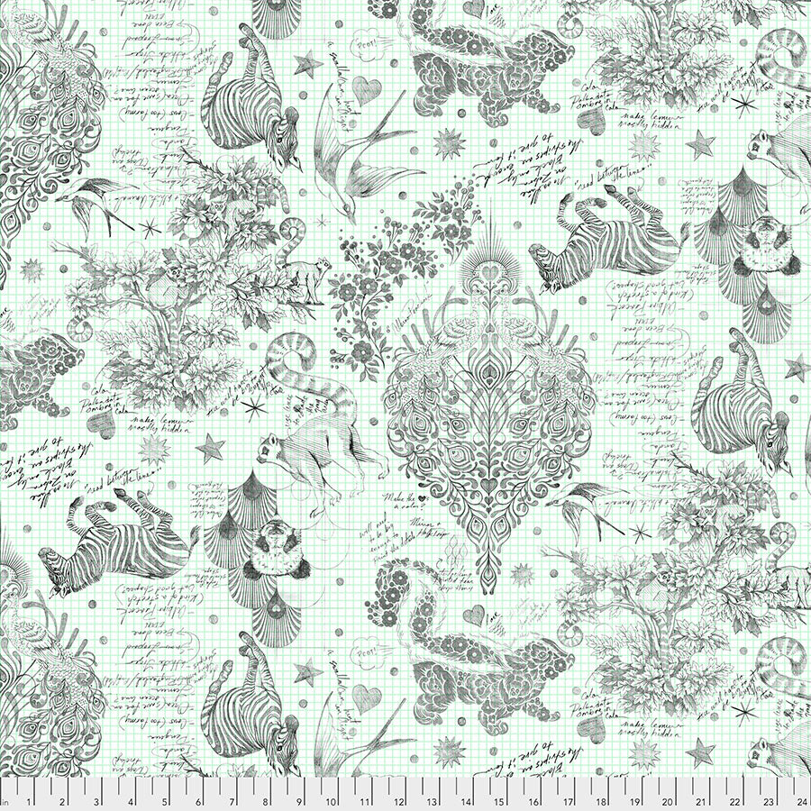 "108"" Linework Quilt Backing Fabric by Tula Pink - Sketchyer in Paper (Animals in White/Green) - QBTP005.PAPER"