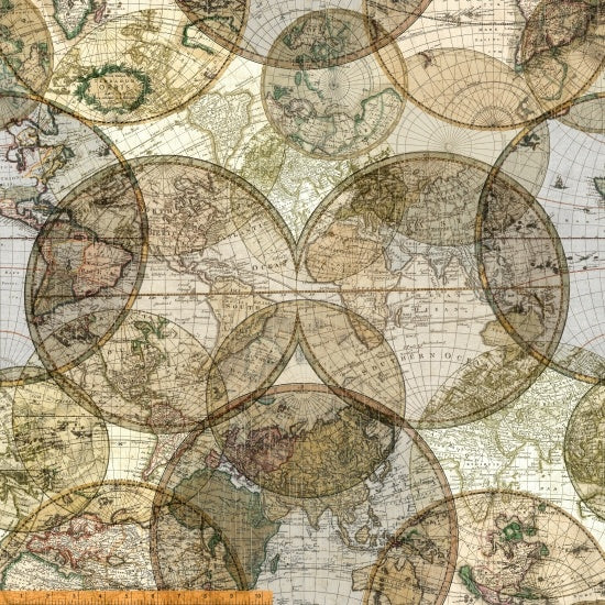 "108"" Modern Wide Back Quilting Fabric - World Globes in Multi - 51386D-X"