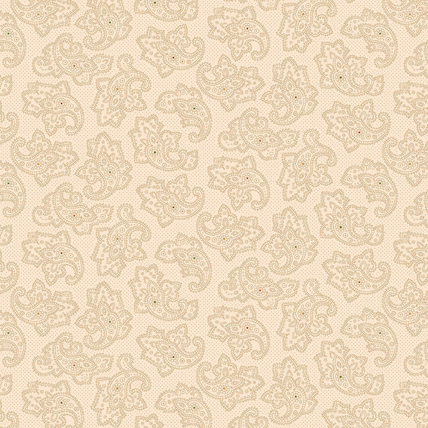 "108"" Parlor Pretties Quilt Backing Fabric - Foulard in Paisley in Beige - 9502-44"