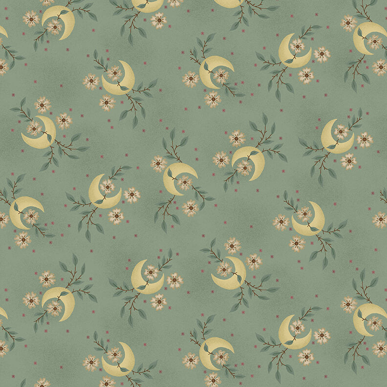 "108"" Parlor Pretties Quilt Backing Fabric - Quarter Moon with Floral Vine in Aqua - 9501-11"