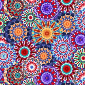 "108"" Radiance Quilt Backing Fabric - Kaleidoscope in Blue/Multi - 9885-70"