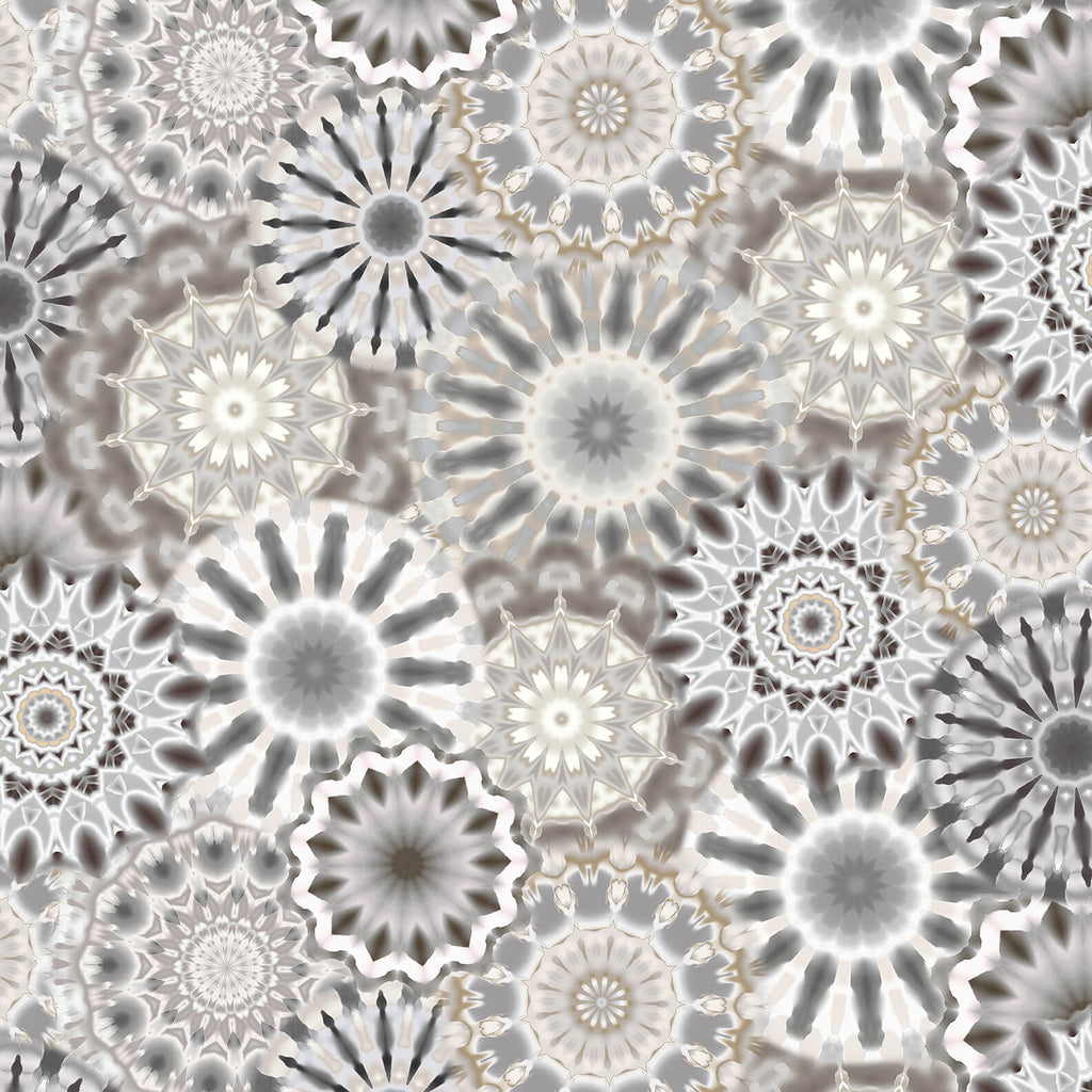 "108"" Radiance Quilt Backing Fabric - Kaleidoscope in Gray/Taupe - 9885-90"