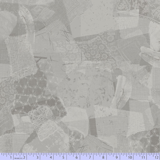 "108"" Scrap Heap Lace Quilt Backing Fabric - Gray - R36 0778 0161"