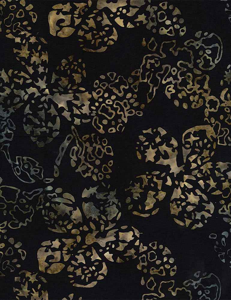 "108"" Tonga Batik Quilt Backing Fabric - Reef Like Flowers in Black - XTONGA-B8559 BLACK"
