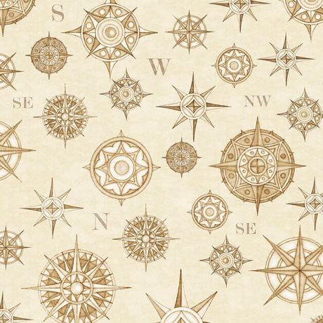 Wanderlust - Compasses in Cream - 1649 26725 E