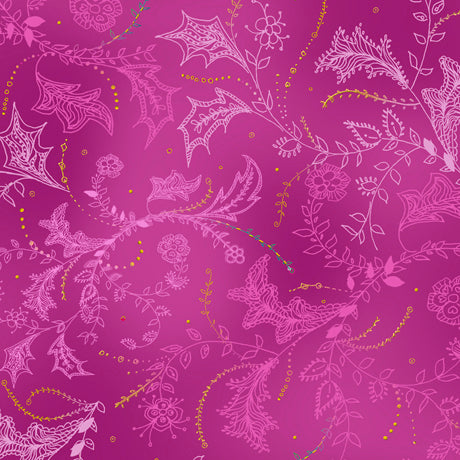 Enchanted Floral - Floral and Vine Toile in Fuchsia - 1649 26776 P