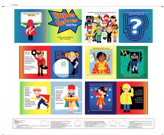 "Super Heroes - Book Panel - 3870P-87 - SOLD AS A 36"" PANEL"