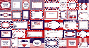 "Red, White, and Starry Blue - Label Panel - 3980P-78 - SOLD AS A 24"" PANEL"