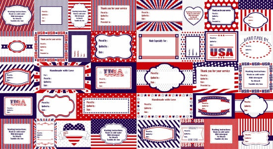 Red, White, and Starry Blue - Label Panel - 3980P-78 - SOLD AS A 24