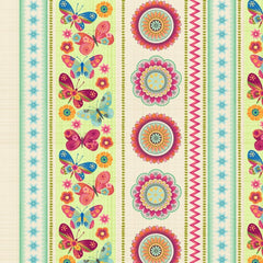 Dancing Wings - Border Stripe in Multi - 4024-44