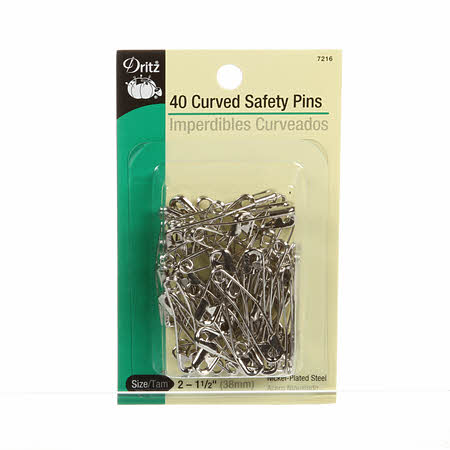 "40 Curved Safety Pins - Size 2, 1 1/2"" - 7216"