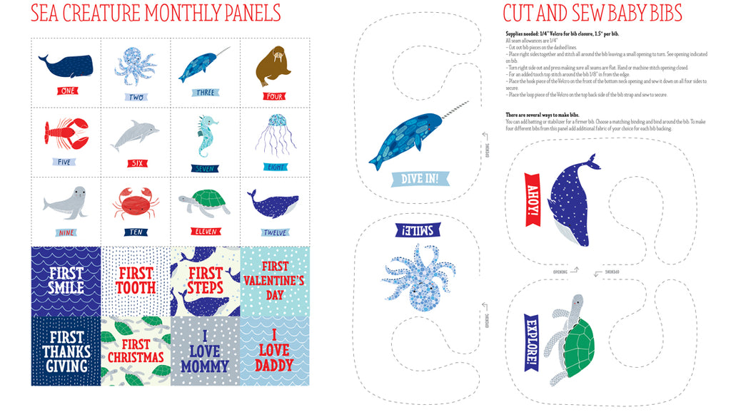 "Ahoy - Sea Creatures Panel in Multi - 48240 11 - SOLD AS A 24"" PANEL"