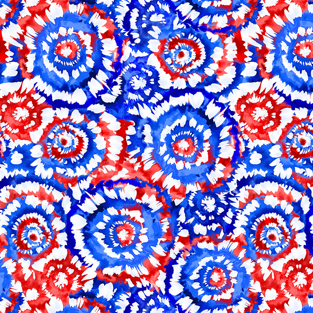 "108"" Spin Art Quilt Backing Fabric - Patriotic Red/White/Blue - 5401-78"