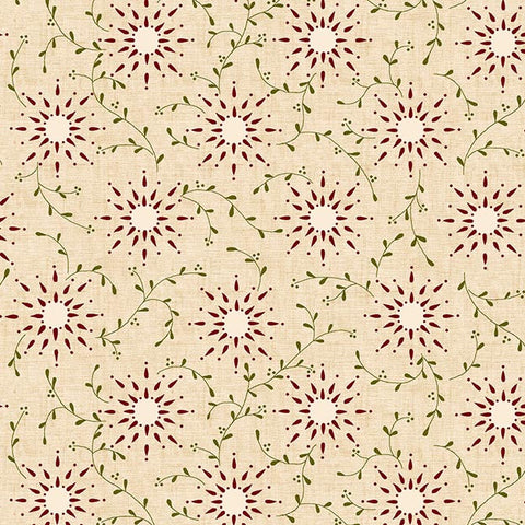"Prairie Vine in Cream/Red - 108"" Wide Backing - 6235-40"