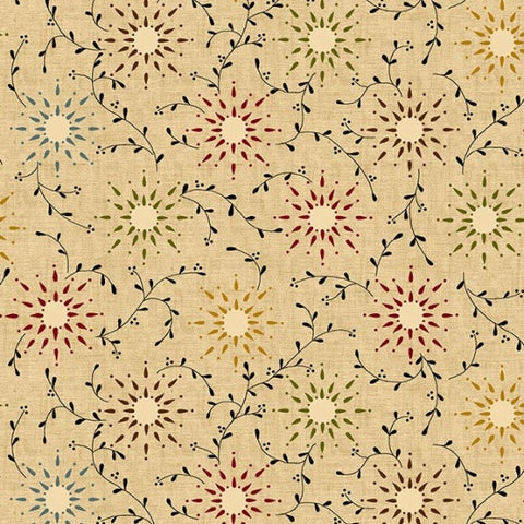 "Prairie Vine in Tan/Multi - 108"" Wide Backing - 6235-44"