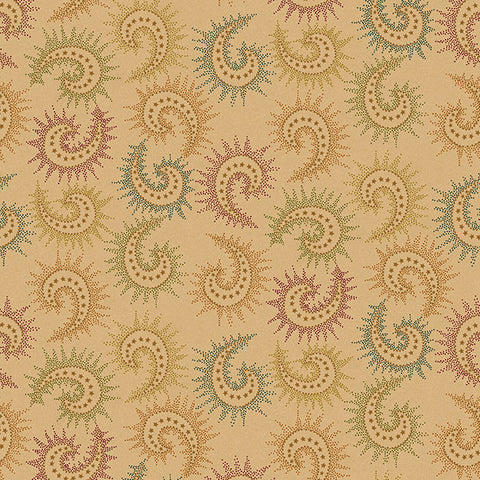 "Spiced Paisley in Tan/Multi - 108"" Wide Backing - 6368-33"